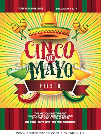 Cinco de mayo poster design with hat and maracas Stock photo © bluering