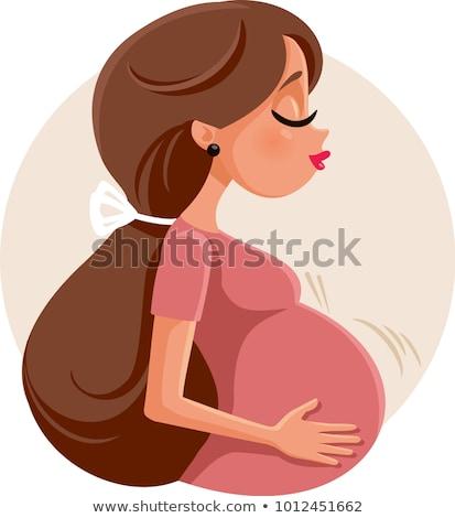 terhes · nő · tart · dudorodás · otthon · konyha · boldog - stock fotó © is2