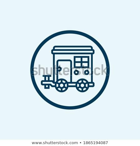 Big modern travel trailer isolated on white icon Stock photo © studioworkstock