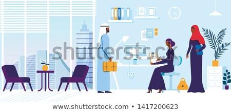 Arab titkárnő üzlet iratok kávéscsésze kezek Stock fotó © studioworkstock