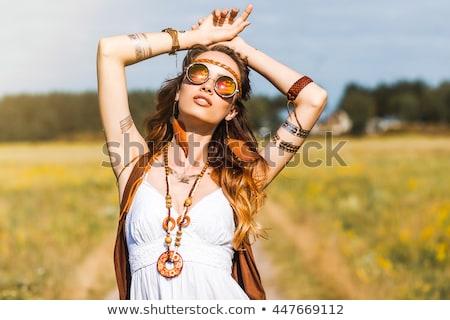 Hippie menina ilustração mulher sorrir engraçado Foto stock © adrenalina