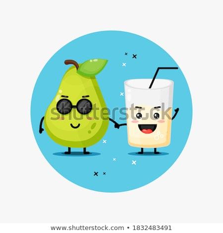 Peer vruchten groen blad cartoon mascotte karakter Stockfoto © hittoon