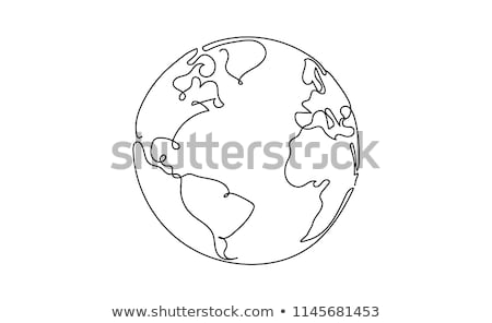 Stock photo: Earth - one line design style illustration