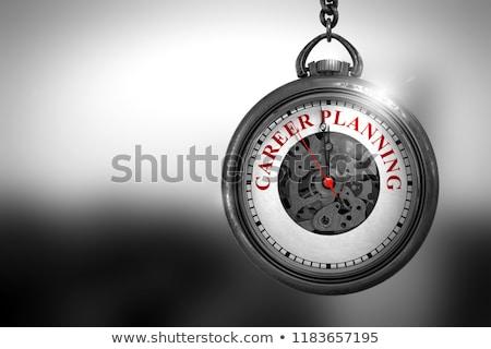 Foto stock: Carreira · vintage · relógio · de · bolso · ilustração · 3d · ver · texto