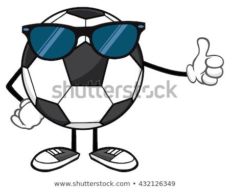футбольным мячом мультфильм талисман характер Солнцезащитные очки большой палец руки вверх Сток-фото © hittoon