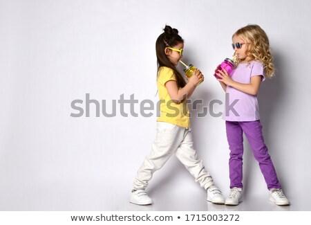 Schoolmeisje witte ingesteld glimlach boek Stockfoto © toyotoyo