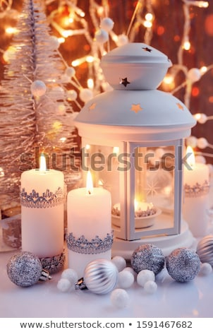 Shiny lantern on a Christmas sparkle background Stock photo © alphaspirit