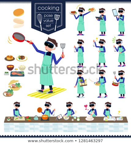 virtual reality goggle men_cooking Stock photo © toyotoyo
