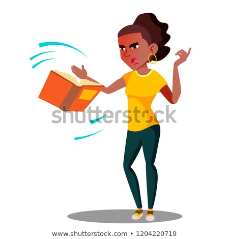 Сток-фото: Angry Student In Stress Throws Away A Book Vector Isolated Illustration
