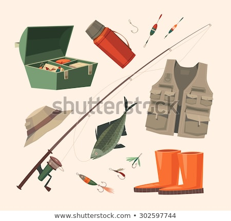 fishing tools isolated on white background poster stock photo © robuart