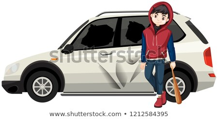 Bad young teen broke the car Stock photo © bluering