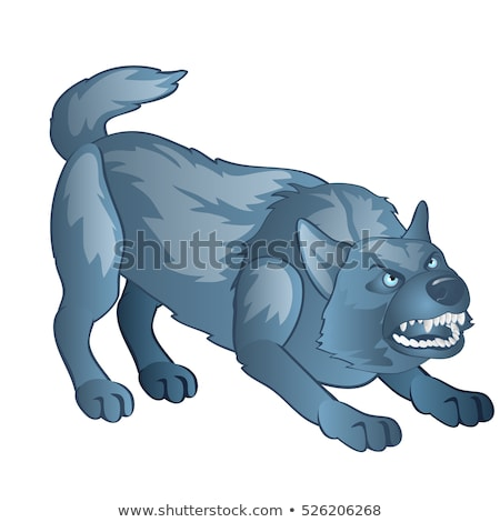 Angry gray dog bares his teeth. Animated werewolf isolated on white background. Vector cartoon close Stock photo © Lady-Luck