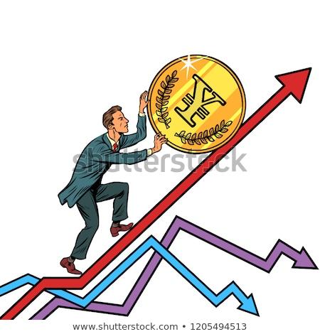 Biznesmen toczyć jen monety w górę pop art Zdjęcia stock © studiostoks