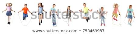 feliz · desenho · animado · menino · menina · saltando - foto stock © bluering