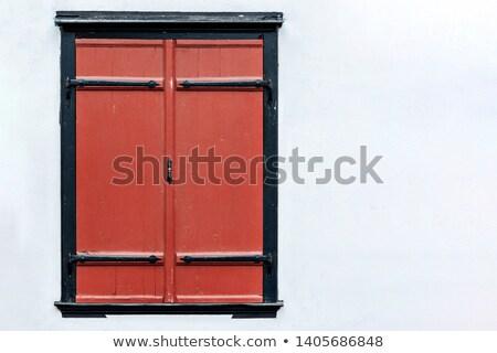 Gesloten Rood houten venster grijs Stockfoto © boggy