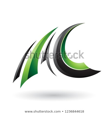 Stok fotoğraf: Siyah · yeşil · parlak · uçan · c · harfi · vektör
