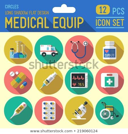 színes · sztetoszkóp · ikon · orvosi · felszerelés · orvos · szív · alak - stock fotó © imaagio