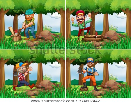 Quatro lenhador mata ilustração árvore homem Foto stock © colematt