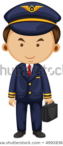 Pilot in blue suit carrying breifcase Stock photo © colematt