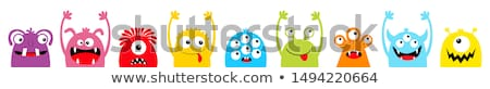 Szörnyek illusztráció sok ajándék torta boldog Stock fotó © colematt