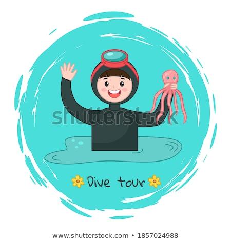 Homme masque tuba plongée mer eau Photo stock © galitskaya