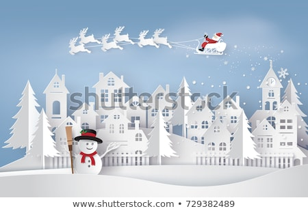 Merry Christmas Paper Cut with Snowman and Tree Stock photo © robuart
