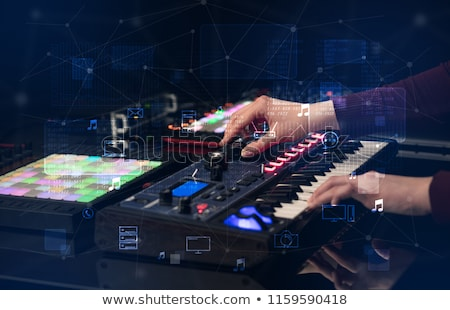hand mixing music on dj controller with wave vibe concept stock photo © ra2studio