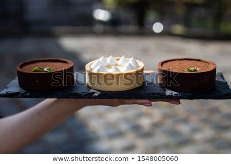 Dolce limone cioccolato fresche tavolo in legno alimentare Foto d'archivio © boggy
