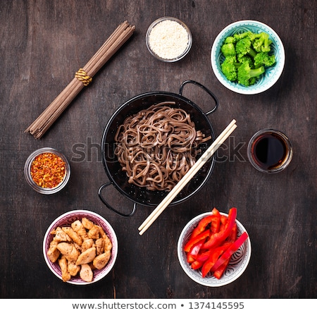 Stock photo: Asian noodles soba with various dressing