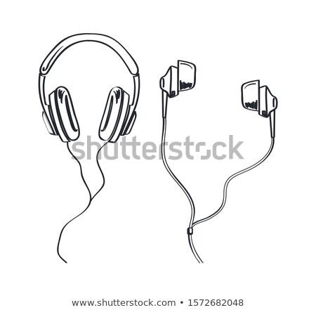 Kopfhörer Kopfhörer monochrome Gliederung Vektor line Stock foto © robuart