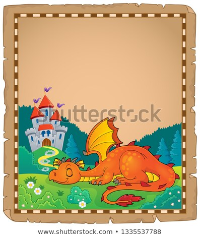 Sleeping dragon theme parchment 2 Stock photo © clairev