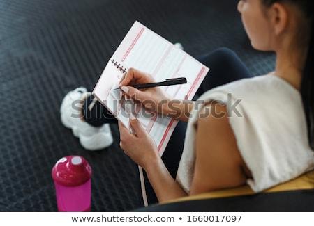 Training · Plan · Notebook · Ansicht · Holz - stock foto © andreypopov