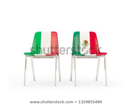 Kettő székek zászlók Olaszország Mexikó izolált Stock fotó © MikhailMishchenko