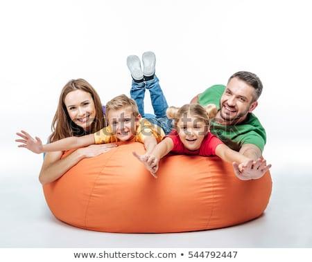 Aile sandalye dört kız bebek Stok fotoğraf © Lopolo