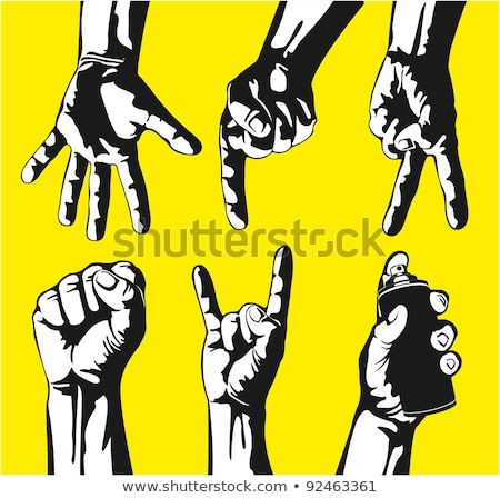 Man Hand Clenched Finger In Fist Gesture Vector Stock photo © pikepicture