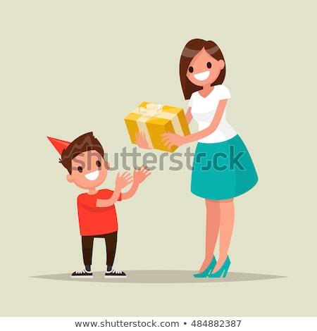 anyaság · szeretet · anya · gyermek · rajz · bent - stock fotó © robuart