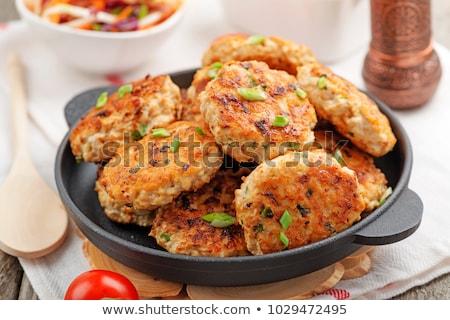ストックフォト: 鶏 · 白 · プレート · 表 · キッチン