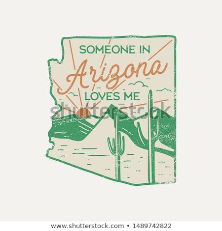 Vintage Arizona badge retro-stijl print Stockfoto © JeksonGraphics