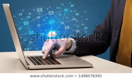 Kéz küldés köteg üzenetek laptop üzletember Stock fotó © ra2studio