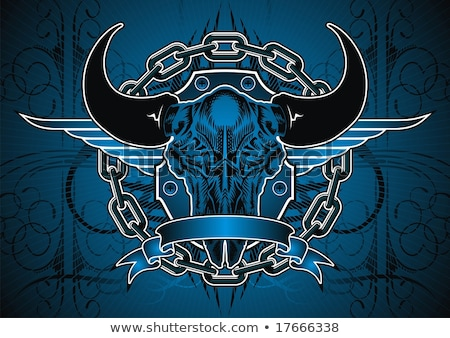 Winged Dagger, with Banner illustration of a dagger with blue wi Stock photo © fenton