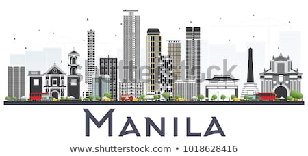 Manila preto e branco silhueta simples turismo Foto stock © ShustrikS