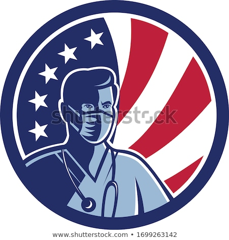 Masculino enfermeira máscara cirúrgica EUA bandeira Foto stock © patrimonio