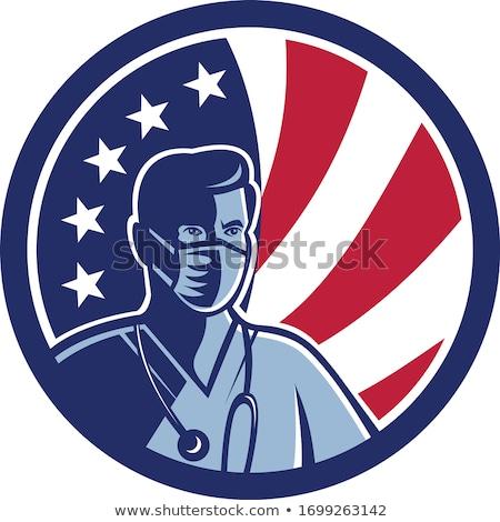 Male Nurse Wearing Surgical Mask USA Flag Mascot Stock photo © patrimonio