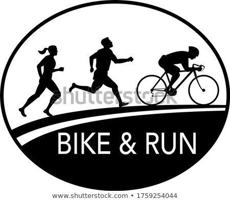 Bisiklet çalıştırmak maraton koşucu oval Retro Stok fotoğraf © patrimonio