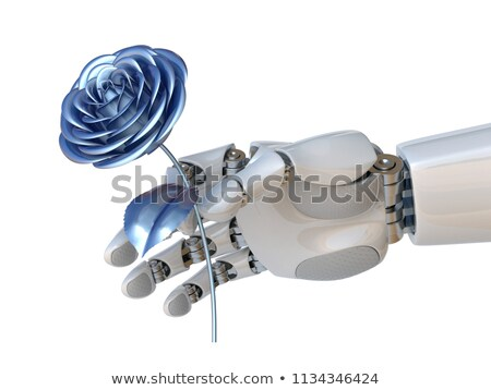 robot hand holding rose stock photo © dashapetrenko