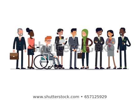 empregado · cadeira · de · rodas · laptop · negócio · homem · tabela - foto stock © dacasdo