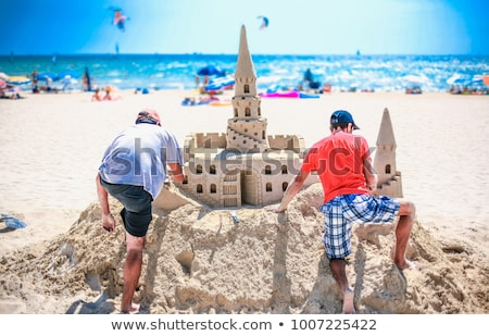 Sabbia scultura spiaggia costruzione sole Foto d'archivio © chris2766