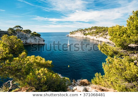 kék · idilli · víz · tenger · Franciaország · tengerpart - stock fotó © timwege