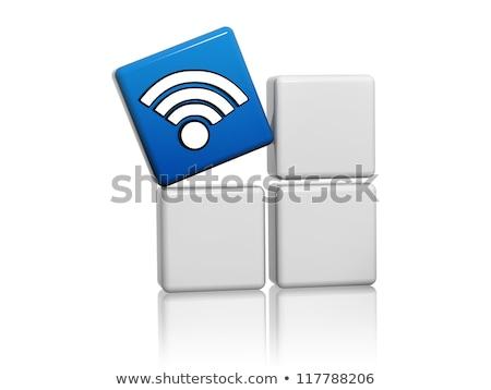 ストックフォト: 青 · キューブ · 無線lan · シンボル · のような · アイコン