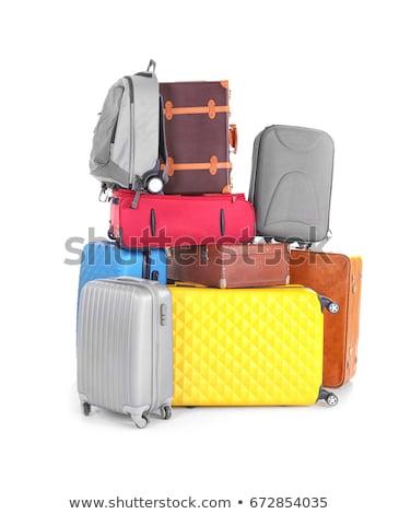 Duży bagaż worek biały podróży bilet Zdjęcia stock © ozaiachin